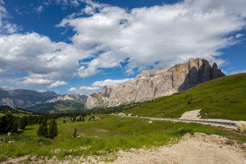 Sella grupa wycieczkuje trails/Dolomites/Italy/góry blisko Passo Sella w val gardena z kwiatonośnymi łąkami i górą fotografia royalty free