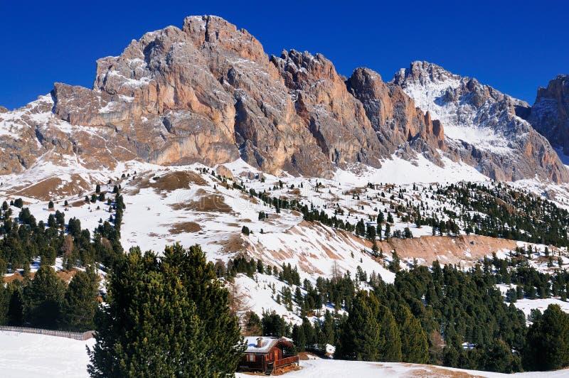Sella Mountains, Val Gardena, Italy. The Sella mountains as seen from Val Gardena, a skiing area in South Tirol, Italy royalty free stock image