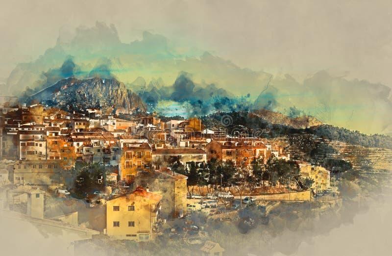 Selladorp, oud dorp in Spanje vector illustratie