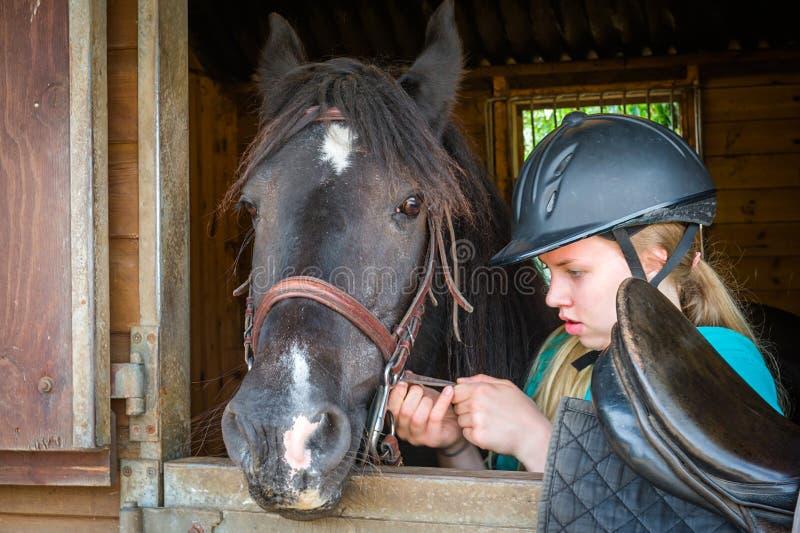 Selle de fille un cheval photographie stock libre de droits