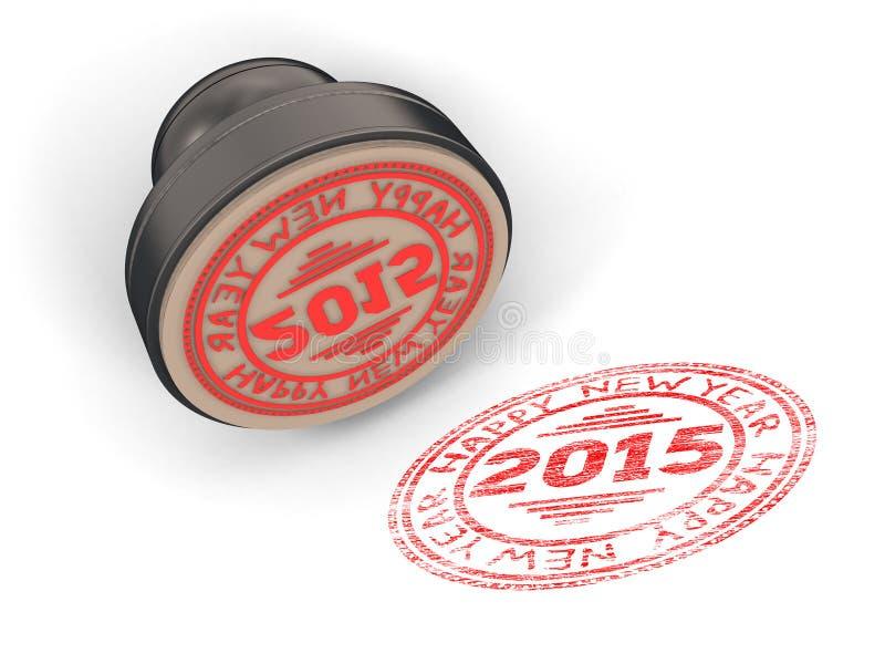 Selle el caucho con la Feliz Año Nuevo 2015 del texto libre illustration