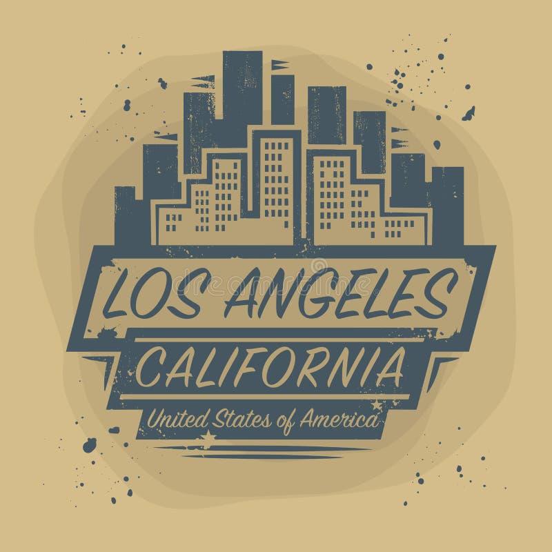 Selle o etiqueta con el nombre de Los Ángeles, California libre illustration