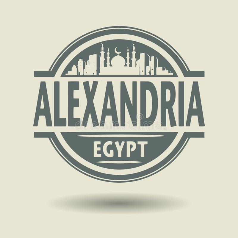 Selle o etiqueta con el texto Alexandría, Egipto dentro libre illustration
