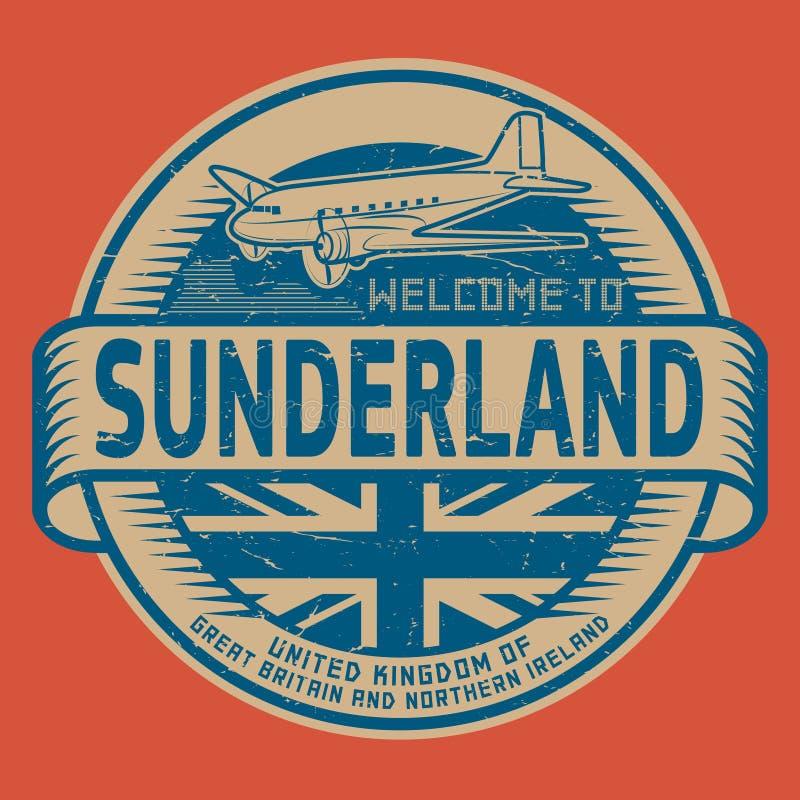Selle o marque con etiqueta con la recepción del texto del aeroplano a Sunderland, Reino Unido stock de ilustración
