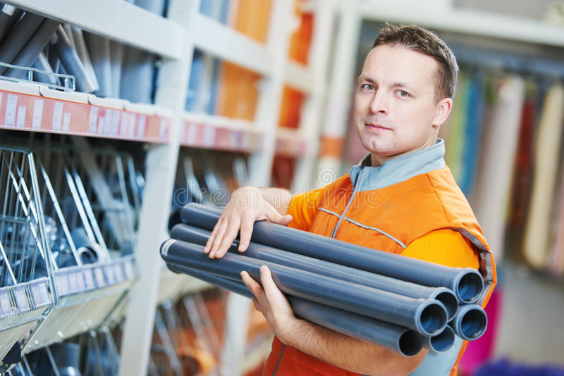 Seller assistant in shop stock photography