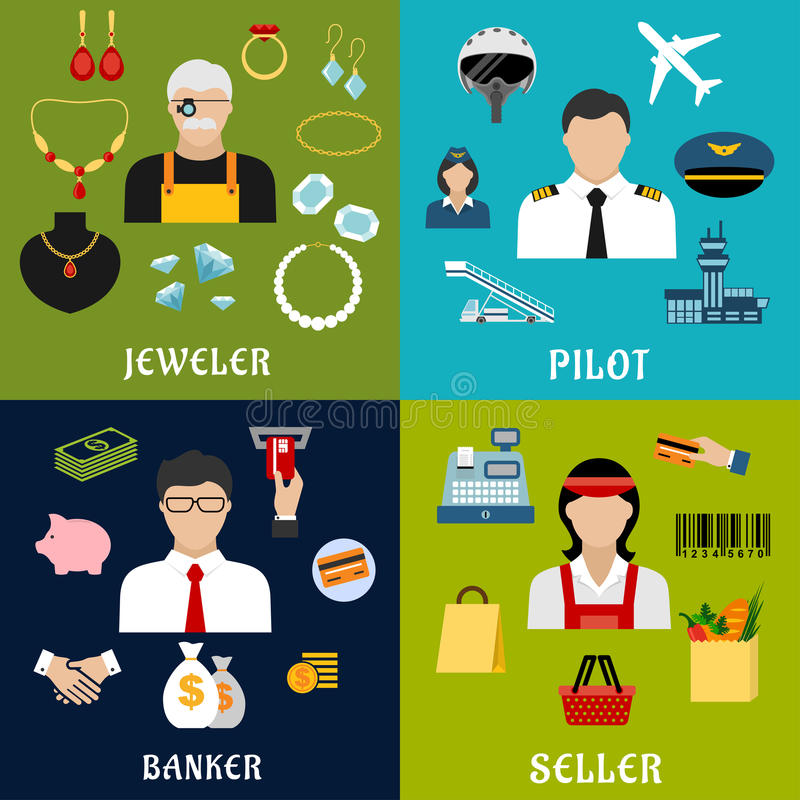 Seller, banker, pilot and jeweler professions royalty free illustration