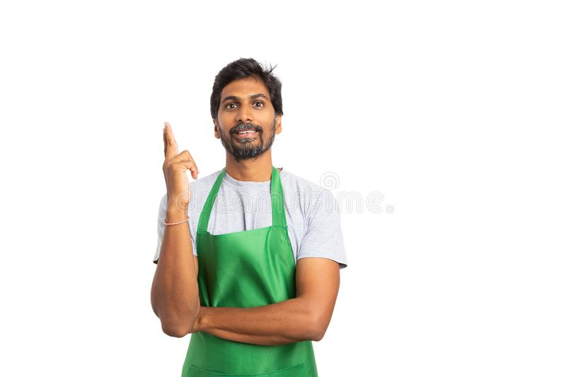 Seller making great idea gesture royalty free stock image