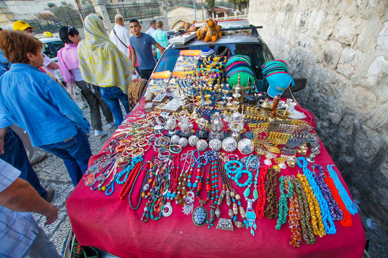 The seller of Souvenirs in Israel stock photos