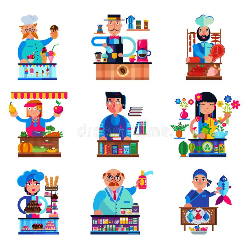 Seller vector salesman character selling in bookshop candyshop or coffeeshop and butcher or baker in stall illustration. Set of people sale in grocery or stock illustration