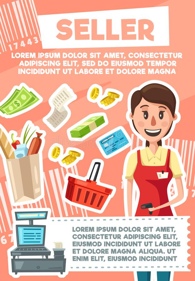 Seller woman profession in supermarket store. Seller profession poster of saleswoman, retail trade. Vector cartoon design of woman or girl in shop apron and bar royalty free illustration