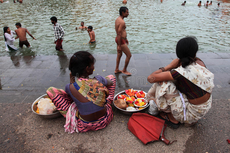 Sellers looks for customers at kumbhamela royalty free stock photos