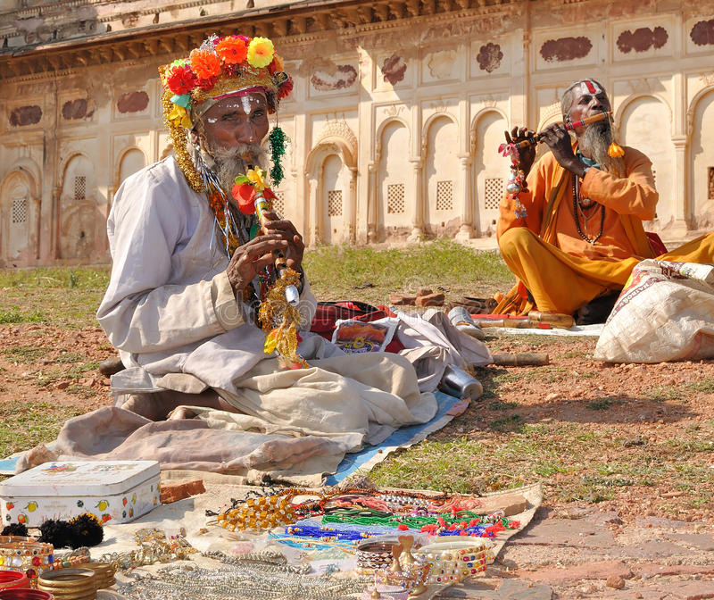 Sellers of souvenirs from the palace in Orcha royalty free stock image