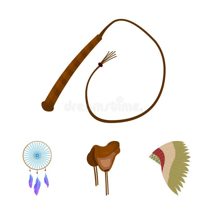 Sellez, Mohawk indien, fouet, receveur rêveur Les icônes réglées de collection d'ouest sauvage dans le style de bande dessinée di illustration de vecteur