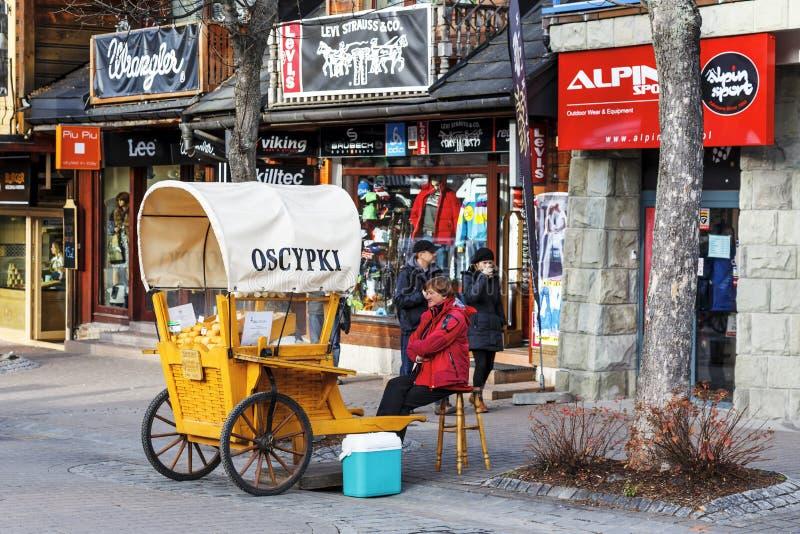Selling cheese at Krupowki street in Zakopane stock photography