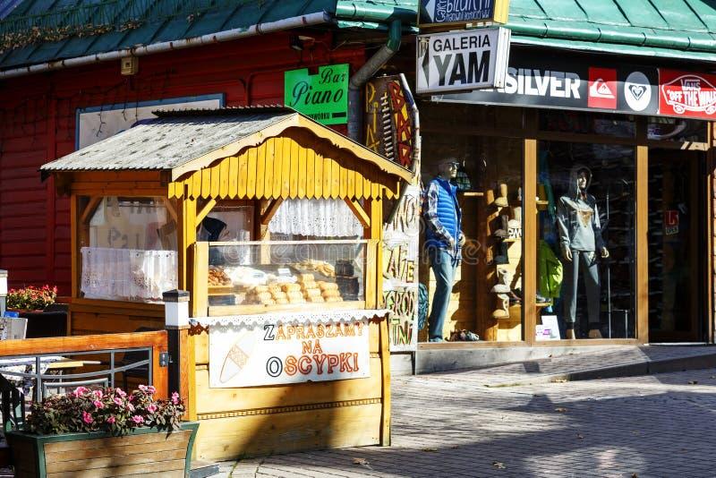 Selling cheese at Krupowki in Zakopane stock photos