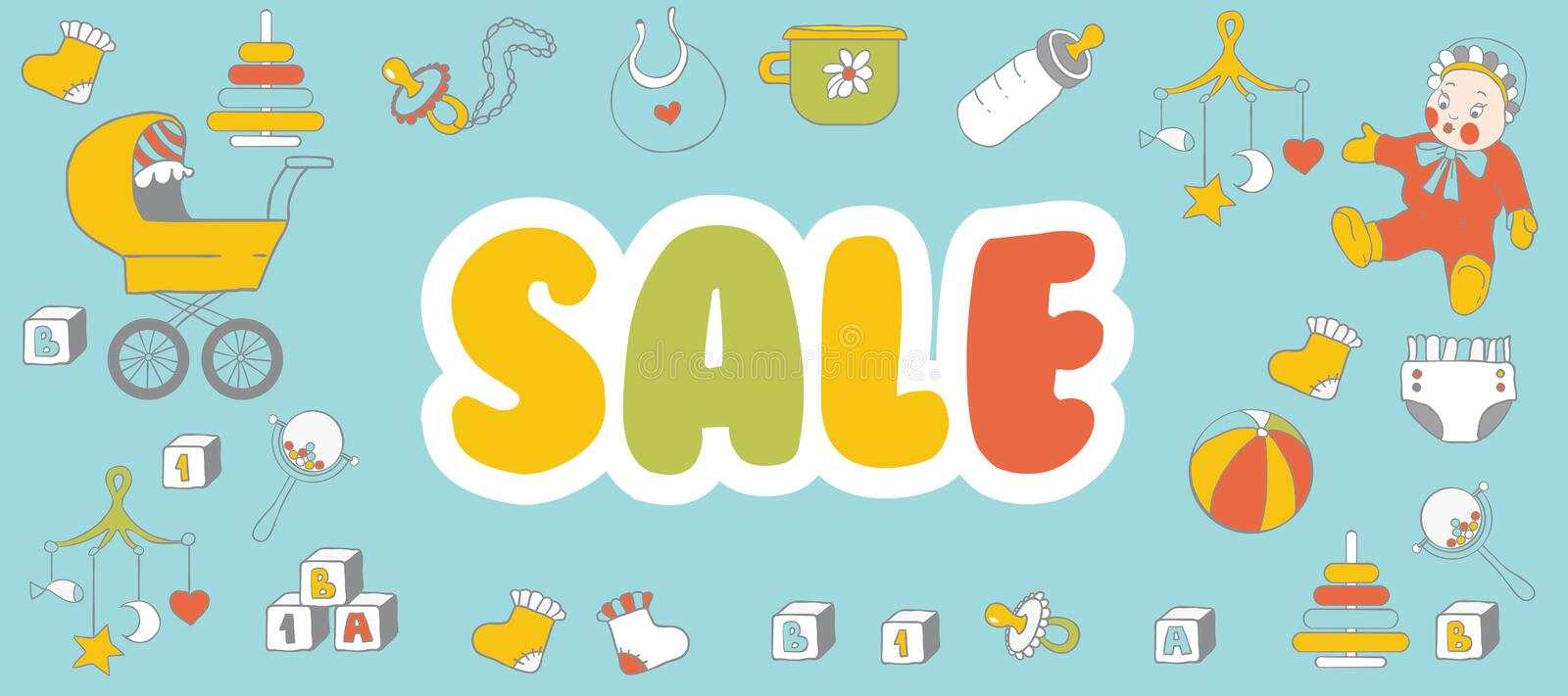 Selling children`s products. Sale. Poster template for baby shop.  stock illustration