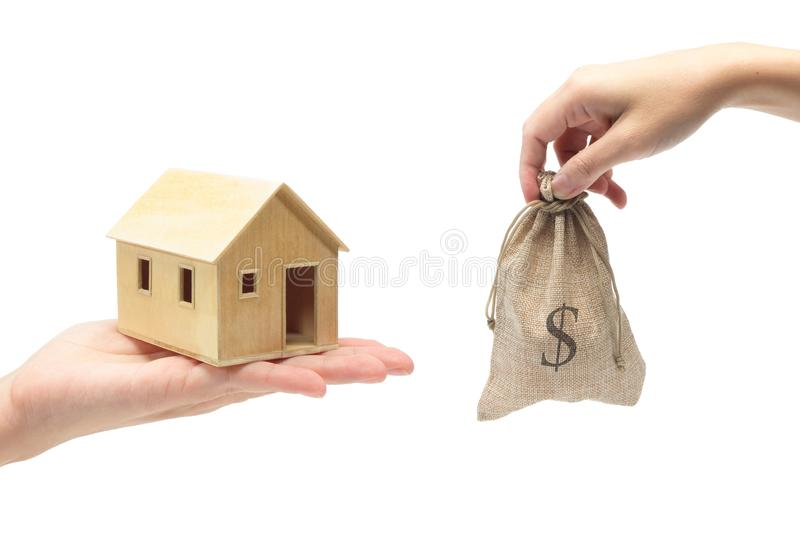 Selling of house on white background. Isolated selling of house on white background stock photography