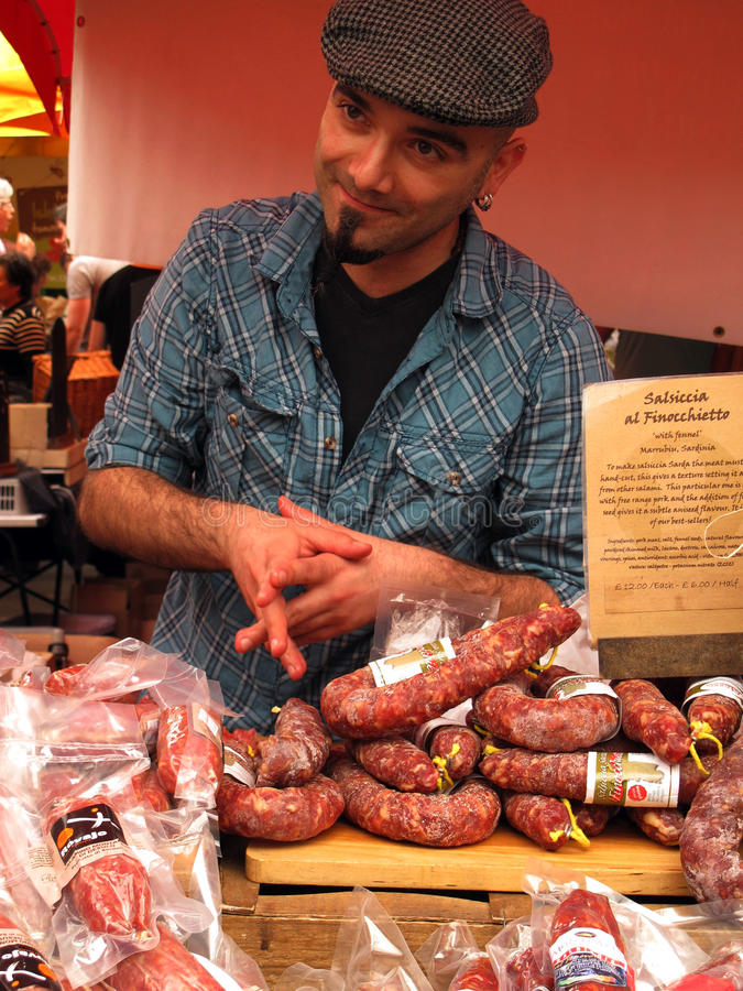 Selling Italian salami royalty free stock photography