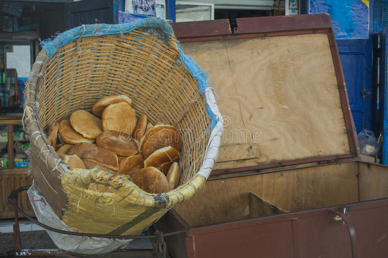 Selling pita bread royalty free stock photography