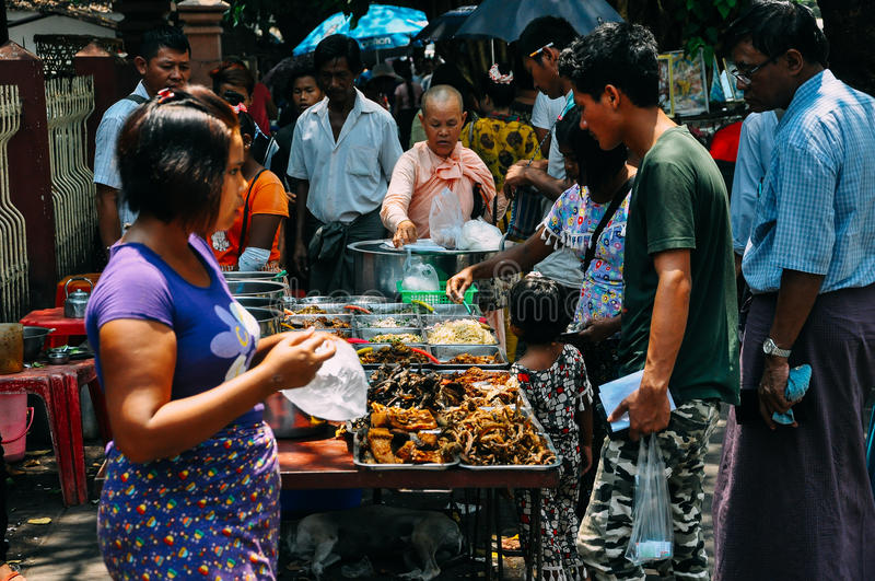 Selling street food in Yangon. royalty free stock photography