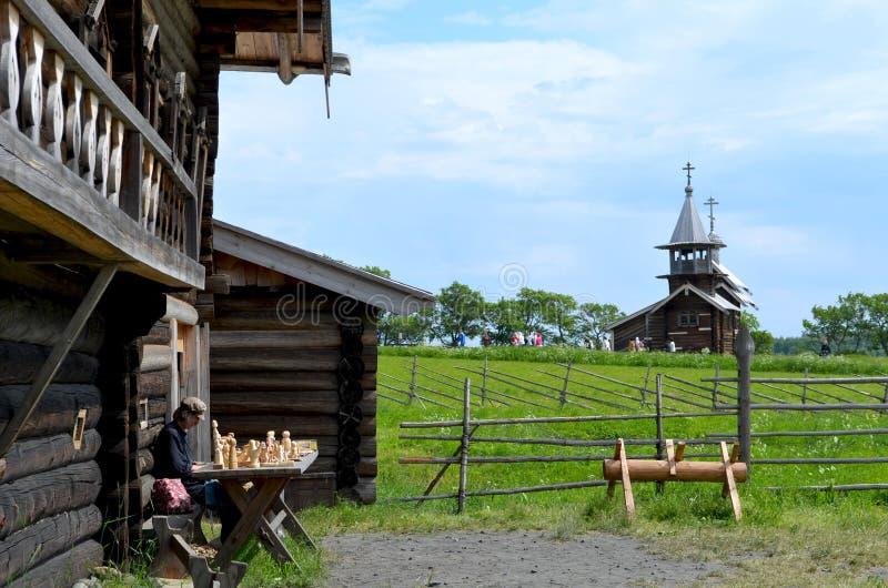Traditional wooden toys of Karelia on Kizhi island Russia royalty free stock image