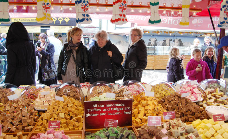 Selling Truffles in the market. Selling truffles in market, malmo,sweden, april,2013 stock image