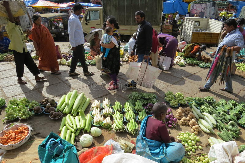 Selling vegetables at KR market in Bangalore. Fresh veggies on sale on the street royalty free stock photos