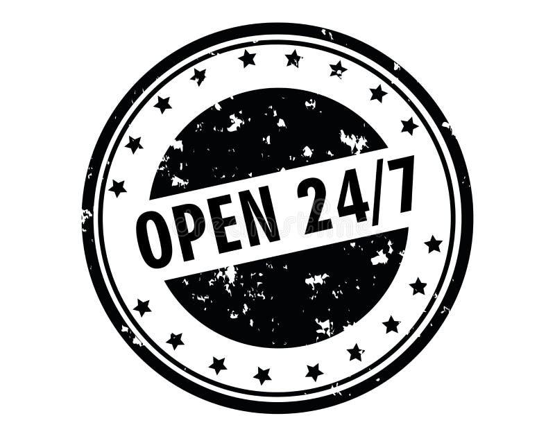 Sello abierto 24/7h libre illustration