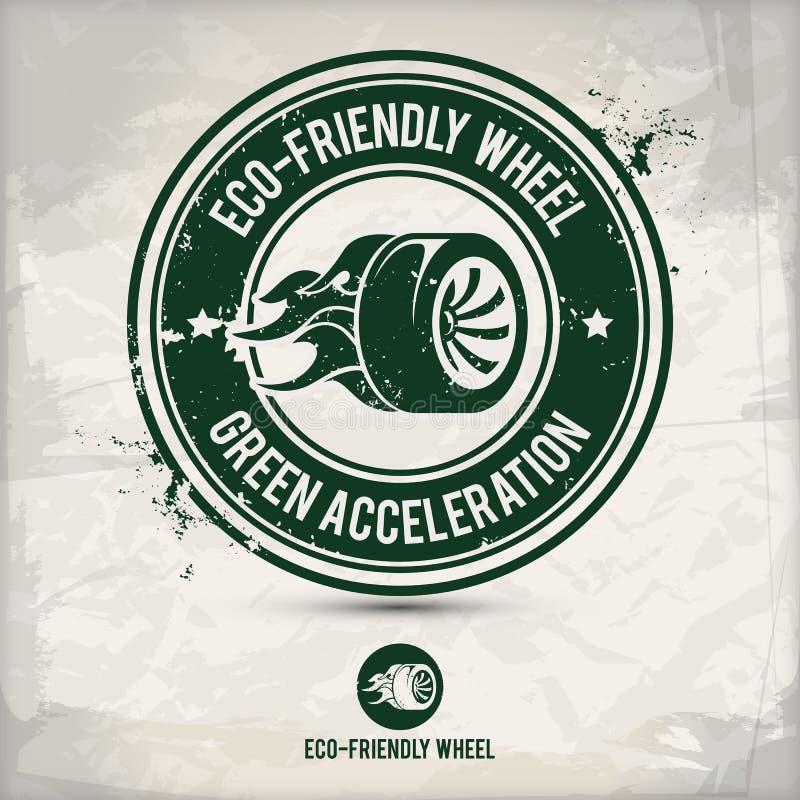 Sello amistoso del neumático y de la rueda del eco alternativo ilustración del vector