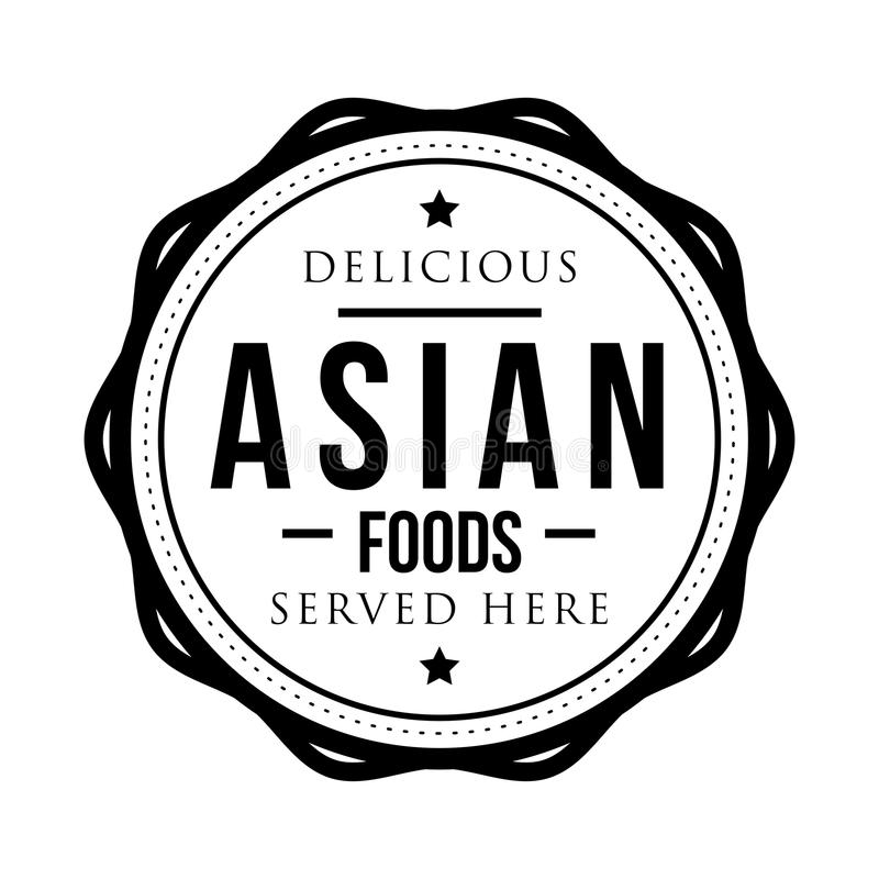 Sello asiático delicioso del vintage de las comidas libre illustration