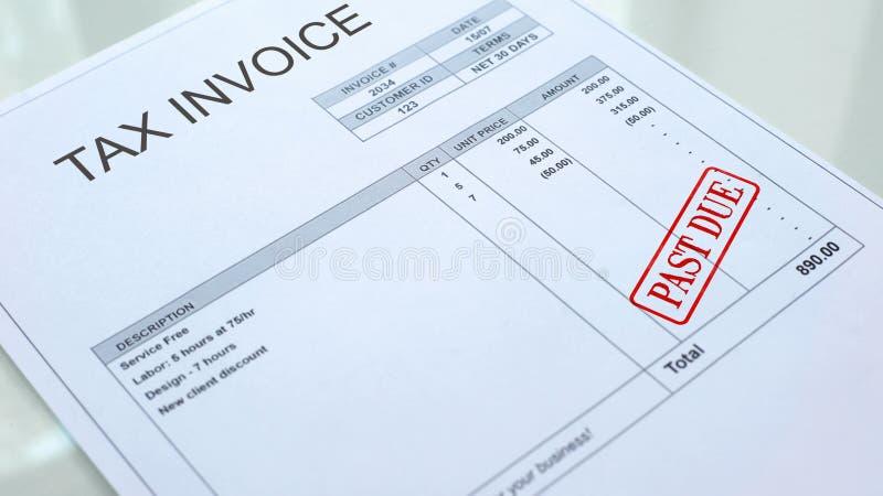 Sello atrasado sellado en el documento comercial, la economía y el negocio de la factura del impuesto stock de ilustración