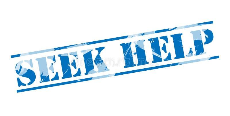 Sello azul de la ayuda de la búsqueda stock de ilustración