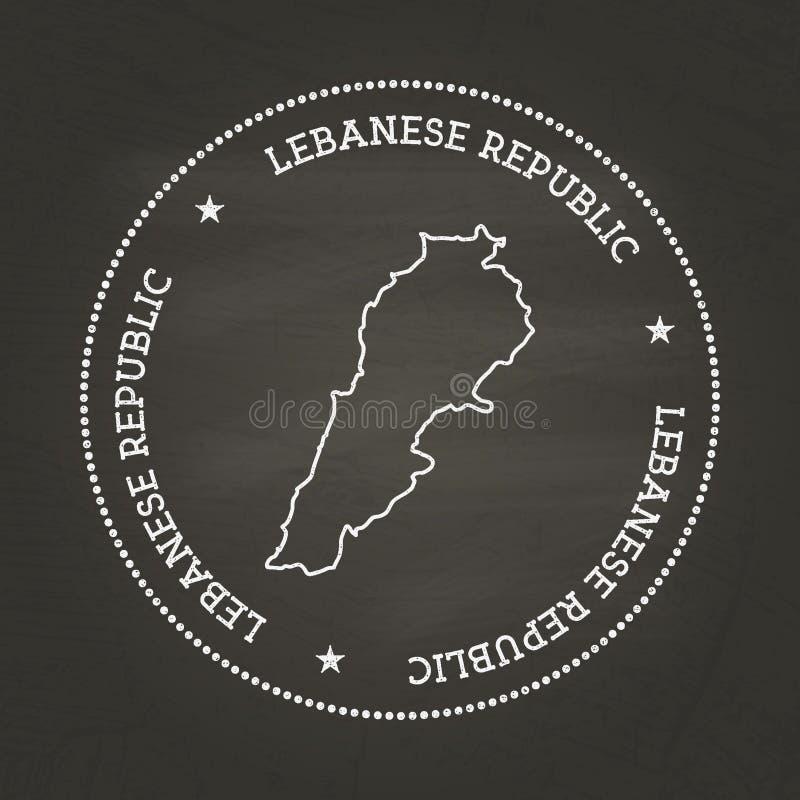 Sello blanco del vintage de la textura de la tiza con el libanés stock de ilustración