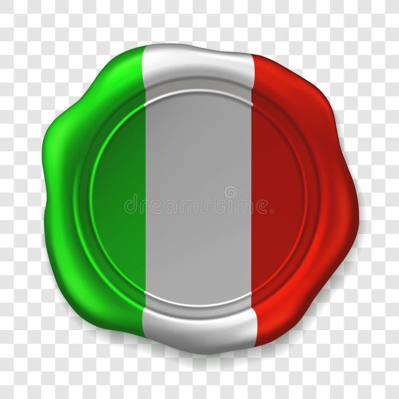 Sello brillante de la cera en colores italianos Etiqueta realista del sello de la cera de lacre vieja en fondo transparente Visi? stock de ilustración