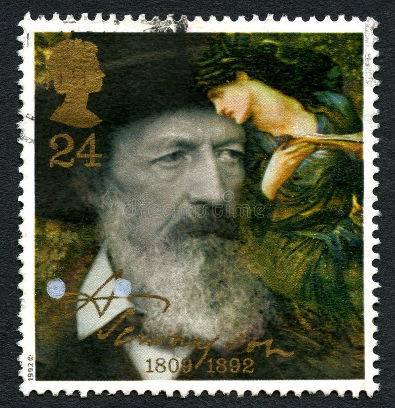 Sello BRITÁNICO de Alfred Lord Tennyson fotografía de archivo libre de regalías