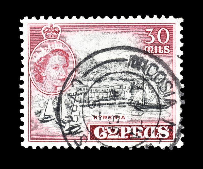 Sello cancelado impreso por Chipre fotos de archivo