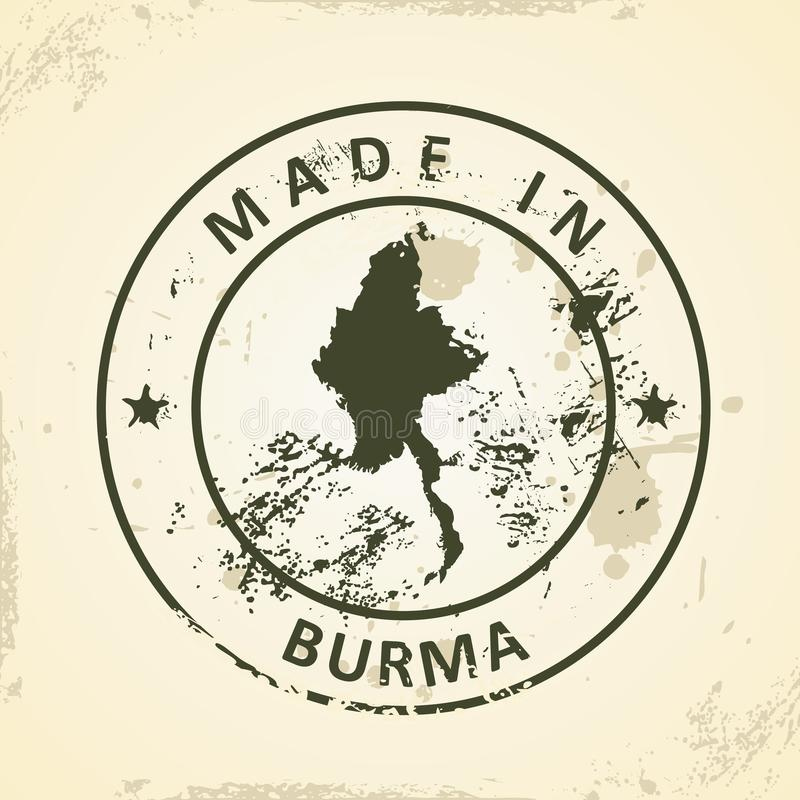 Sello con el mapa de Birmania libre illustration