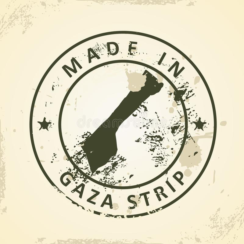 Sello con el mapa de la Franja de Gaza  stock de ilustración