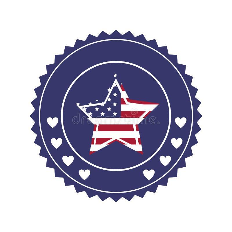 sello con la bandera de Estados Unidos en estrella de la forma en marco redondo ilustración del vector