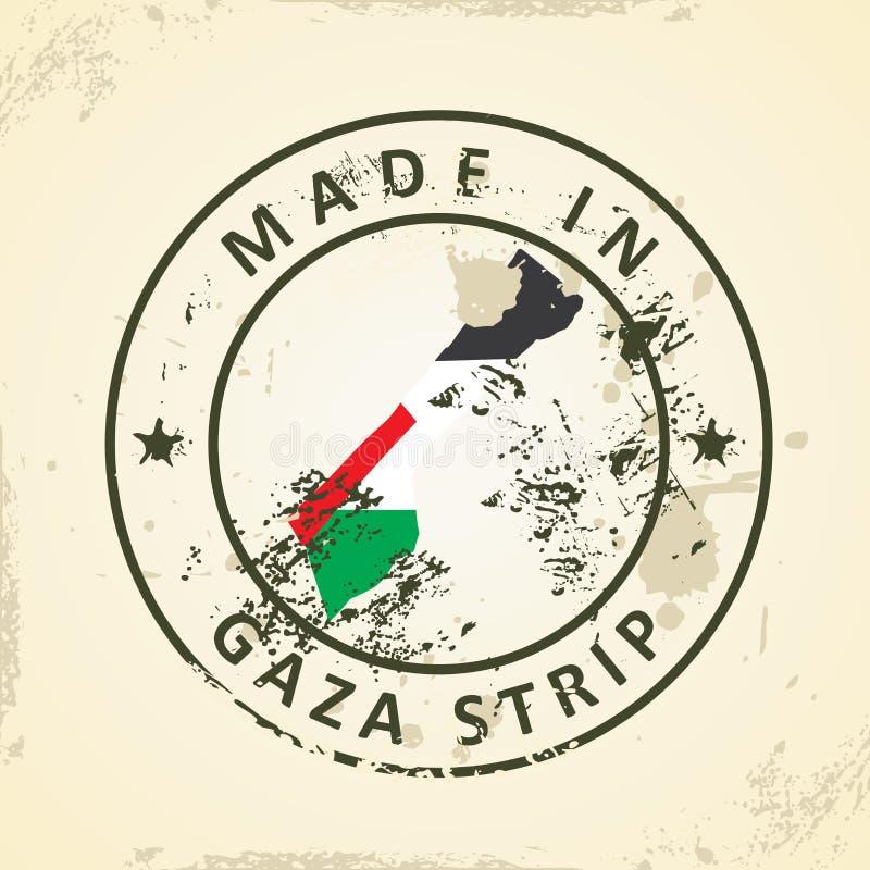 Sello con la bandera del mapa de la Franja de Gaza  stock de ilustración
