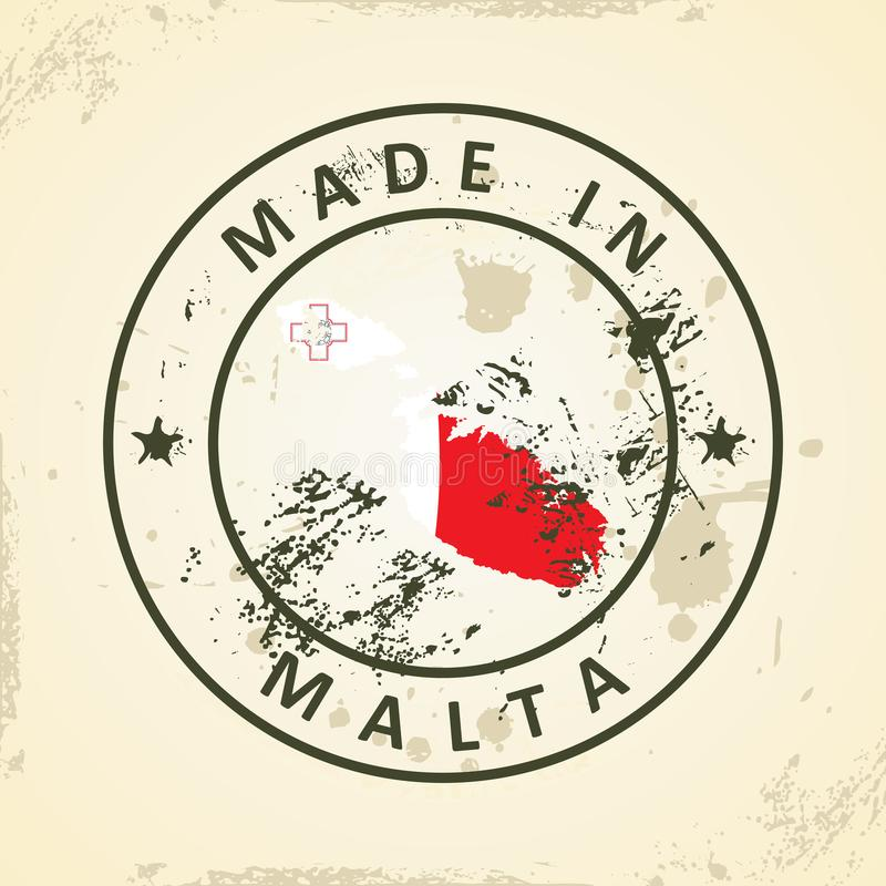 Sello con la bandera del mapa de Malta ilustración del vector
