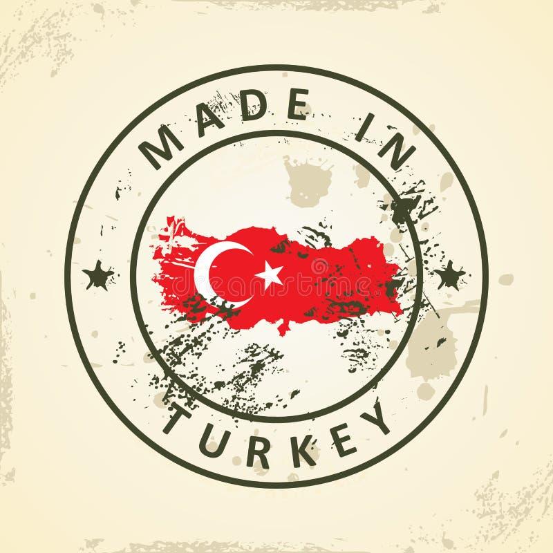 Sello con la bandera del mapa de Turquía ilustración del vector