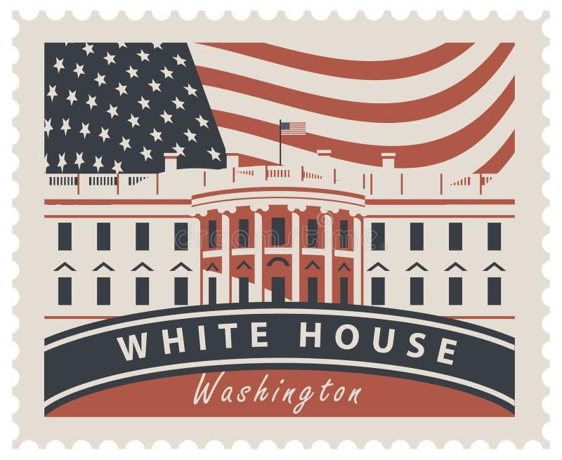 Sello con la Casa Blanca y la bandera los E.E.U.U. libre illustration
