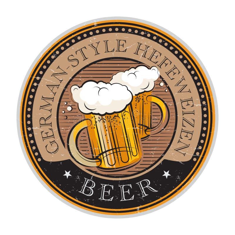 Sello con la cerveza de Hefeweizen del Alemán-estilo del vidrio y del texto de cerveza libre illustration