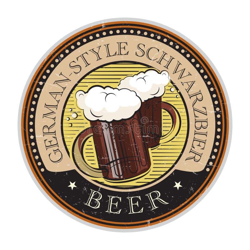 Sello con la cerveza de Schwarzbier del Alemán-estilo del texto del vidrio de cerveza ilustración del vector