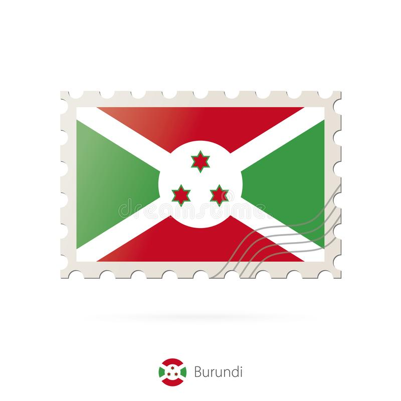 Sello con la imagen de la bandera de Burundi ilustración del vector