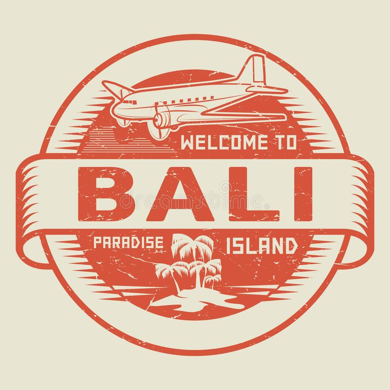 Sello con la recepción del texto a Bali, isla del paraíso stock de ilustración