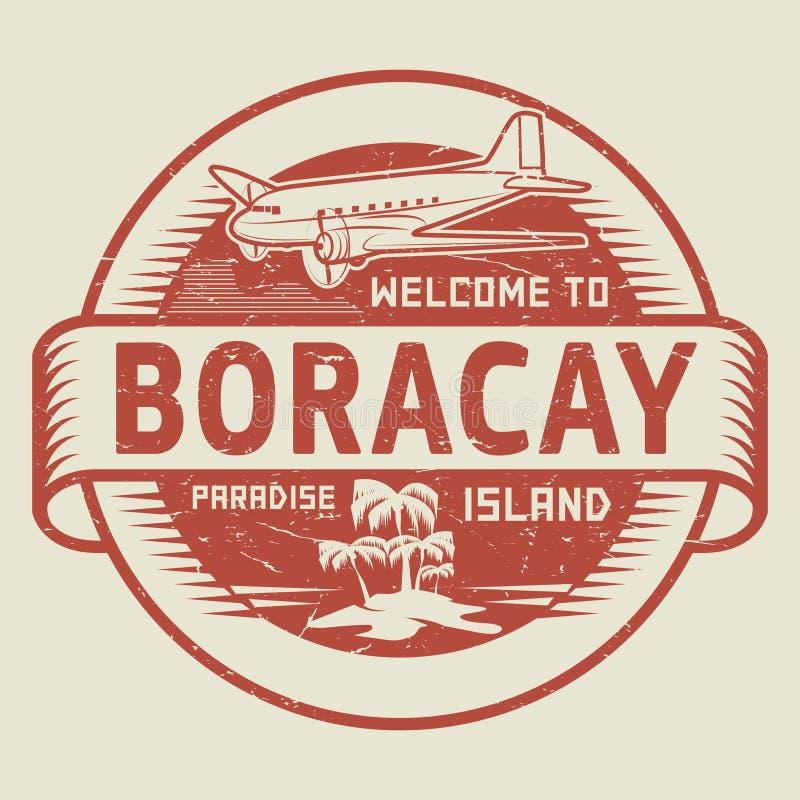 Sello con la recepción del texto a Boracay, isla del paraíso libre illustration