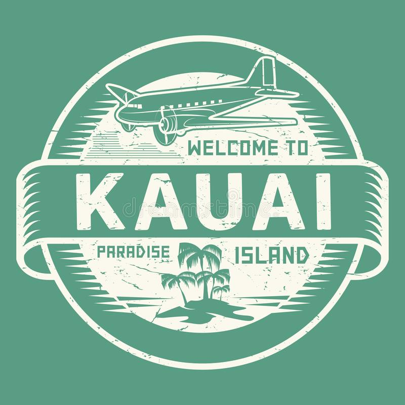 Sello con la recepción del texto a Kauai, isla del paraíso stock de ilustración