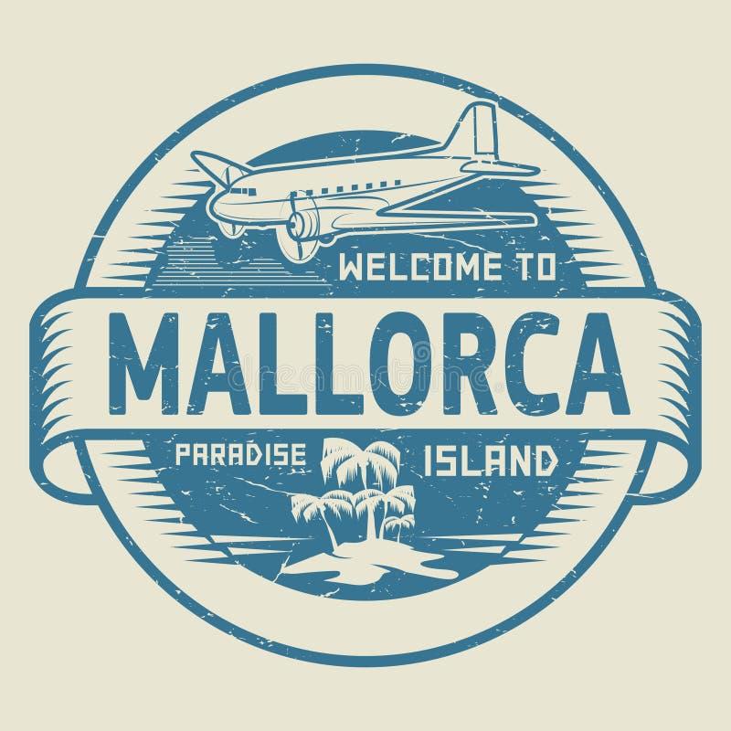 Sello con la recepción del texto a Mallorca, isla del paraíso ilustración del vector